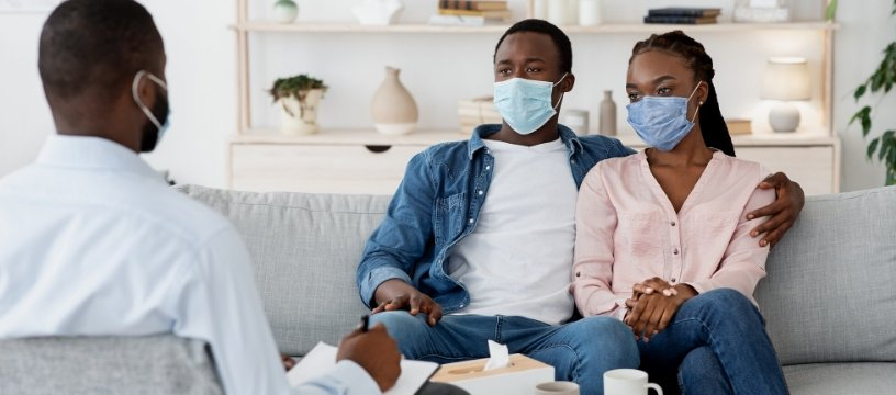 Black Couple Get Therapy with Masks On