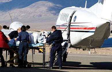Air ambulance ground transfer evacuation