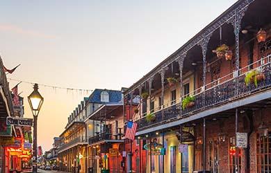 New Orleans French Quarter street at sunset